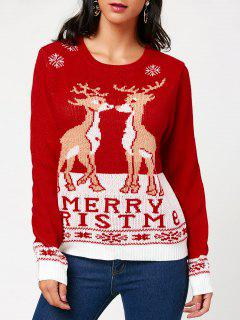 Christmas Pullover Sweater With Little Fawn Kiss Pattern - Red