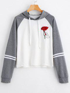 Floral Patched Drawstring Raglan Sleeve Hoodie - Gray L