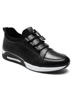 Faux Leather Low Top Casual Shoes - Black 41