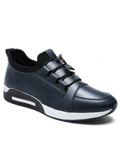 Faux Leather Low Top Casual Shoes - Blue 39