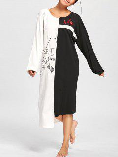 Two Tone Oversized Asymmetric Sleep Dress - Black White L