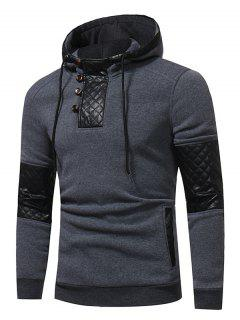 Hooded PU Leather Panel Fleece Pullover Hoodie - Deep Gray 2xl