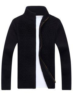 Stand Collar Cable Knit Cardigan - Black Xl