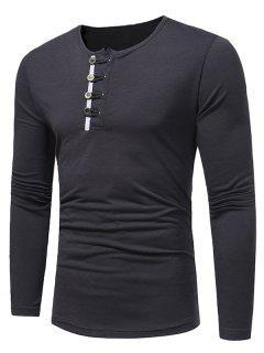 T-shirt à Encolure Dégagée - Gris Foncé L