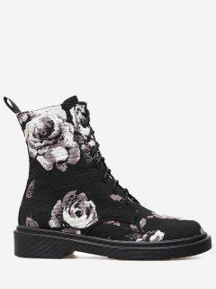Stitching Floral Lace Up Boots - Black 36