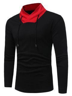 Shawl Collar Color Block Drawstring T-shirt - Black Xl