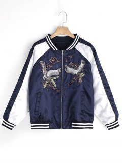 Floral Crane Embroidered Souvenir Jacket - Purplish Blue M