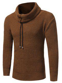 Cowl Neck Drawstring Woolen Yarn Sweater - Camel Xl