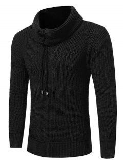 Cowl Neck Drawstring Woolen Yarn Sweater - Black Xl
