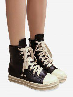 Eyelet PU Leather Ankle Boots - Black 38