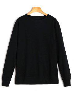 Casual Plain Sweatshirt - Black Xl