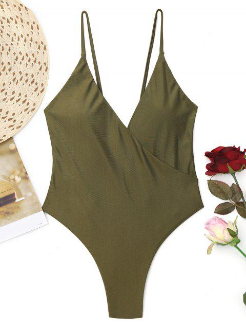High Cut Crossover One Piece Swimwear - Verde del ejército S Mobile
