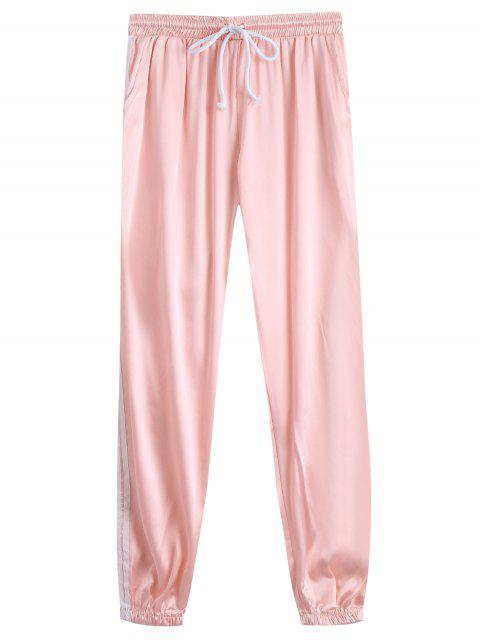 shop Drawstring Shiny Sporty Jogger Pants - LIGHT APRICOT PINK M Mobile
