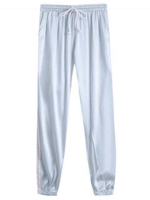 trendy Drawstring Shiny Sporty Jogger Pants - FROST M Mobile