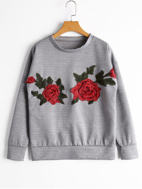 Sweatshirt mit Drop Schulter und Blumen-Patchwork - Grau S Mobile