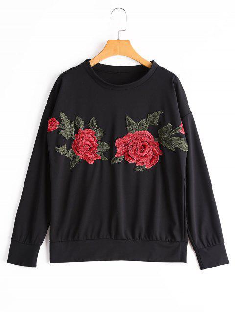 Sweatshirt mit Drop Schulter und Blumen-Patchwork - Schwarz S Mobile