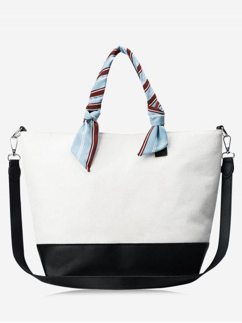 women PU Leather Color Block Ribbon Handbag - WHITE AND BLACK  Mobile