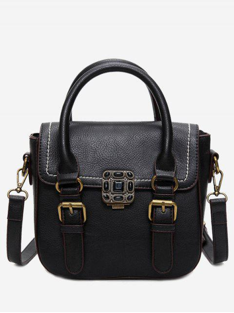 lady Stitching Buckle Straps Metal Tote Bag - BLACK  Mobile