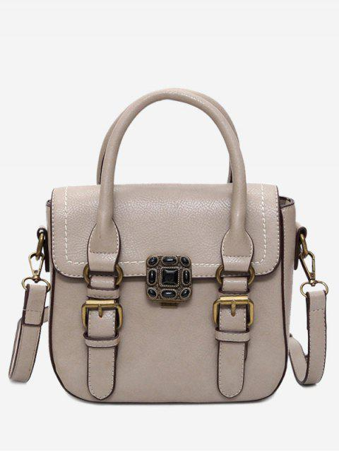 best Stitching Buckle Straps Metal Tote Bag - KHAKI  Mobile