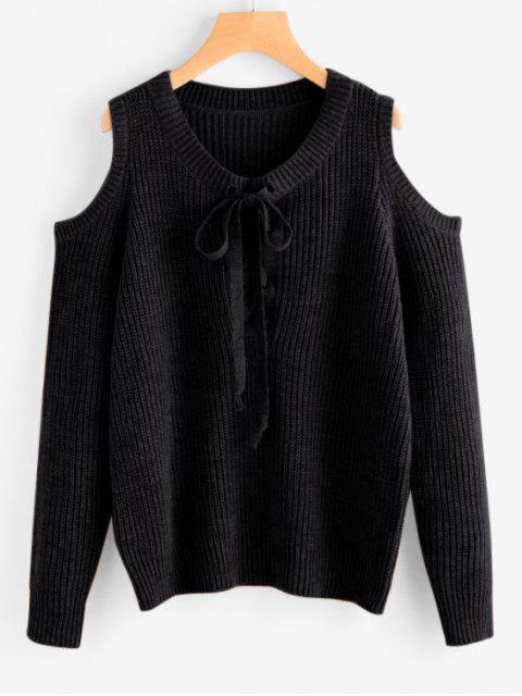 Chunky Pullover mit Schnürsenkel und Kalter Schulter - Schwarz Eine Größe Mobile