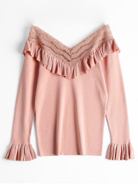 Haut en tricot à manches évasées à col en V et à manches évasées - ROSE PÂLE Taille Unique Mobile