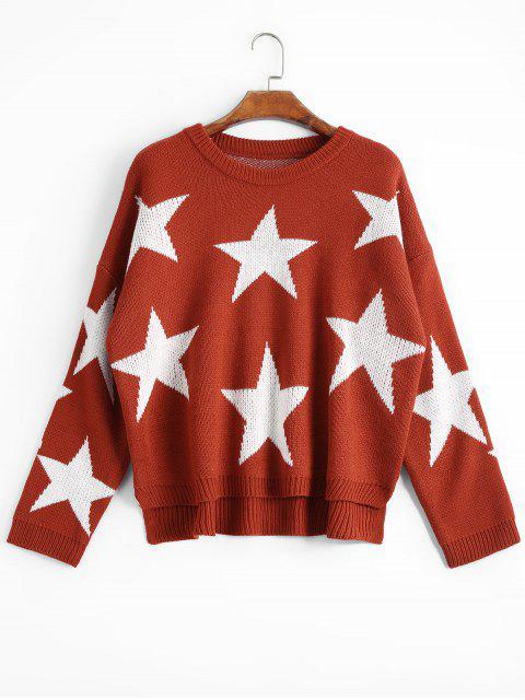 Übergröße Pullover mit hohem niedrigem Saum und Stern Muster - Ziegelrot Eine Größe Mobile