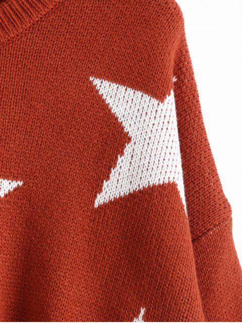 buy Oversized Star High Low Sweater - BRICK-RED ONE SIZE Mobile