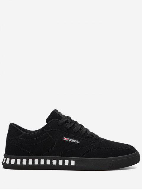 Stitching Color Block Letter Skate Zapatos - Negro 39 Mobile