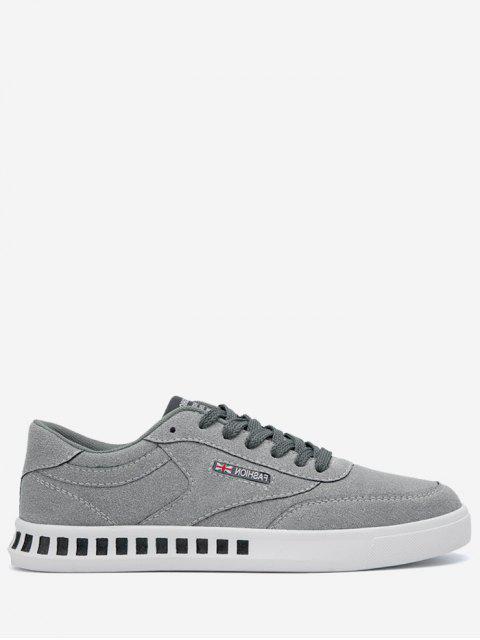 Stitching Color Block Letter Skate Schuhe - Grau 43 Mobile