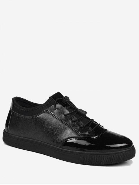 Helle Farbe Tie Up Low Top Casual Schuhe - Schwarz 40 Mobile