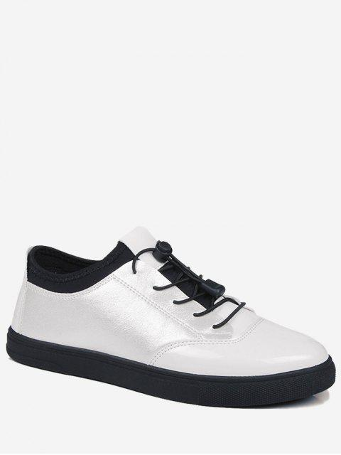 Helle Farbe Tie Up Low Top Casual Schuhe - Weiß 43 Mobile