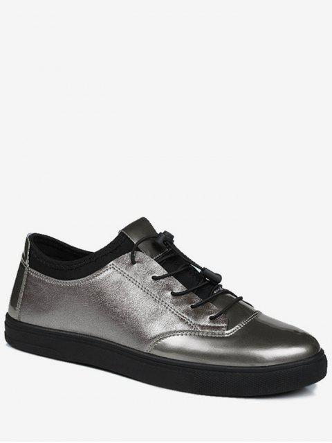 new Bright Color Tie Up Low Top Casual Shoes - GUN METAL 41 Mobile