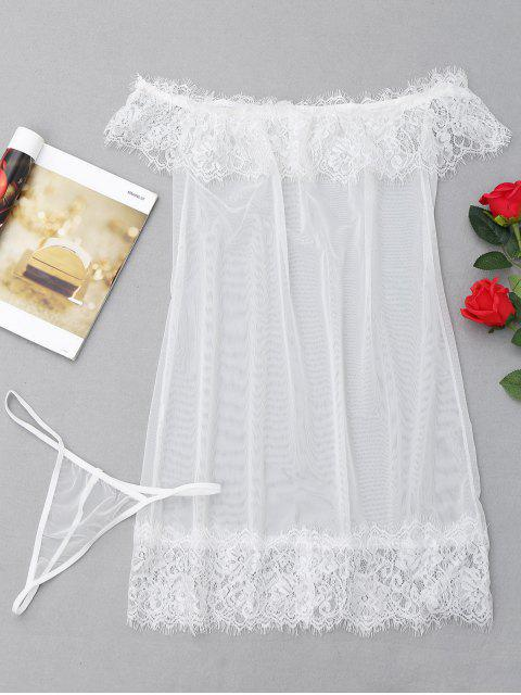 fancy Sheer Mesh Babydoll - WHITE ONE SIZE Mobile