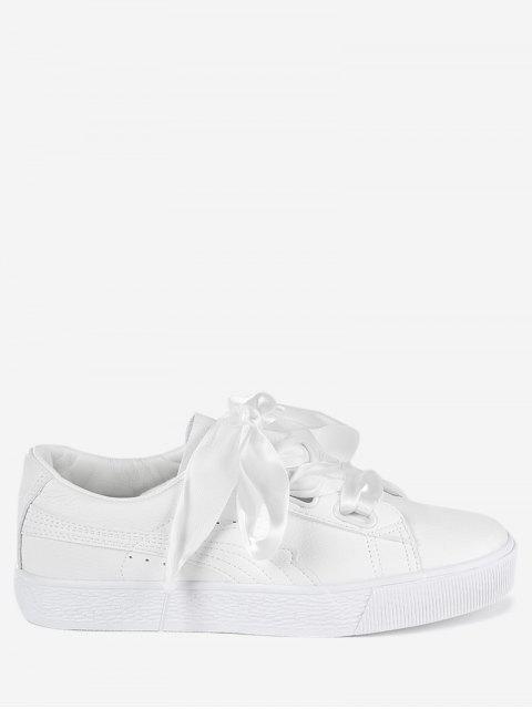 fashion Low Top Ribbon Sneakers - WHITE 38 Mobile