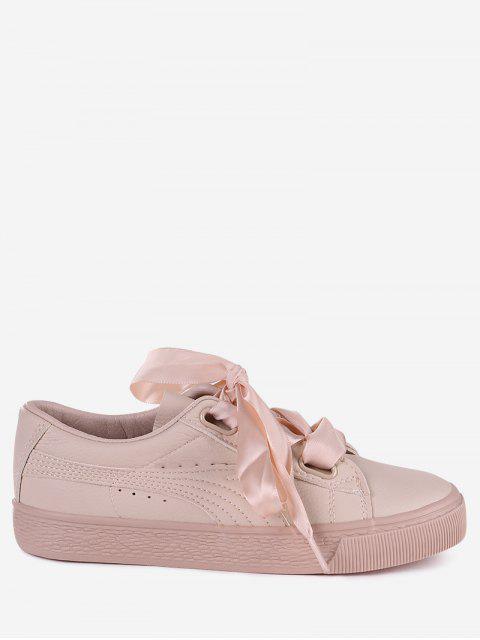 womens Low Top Ribbon Sneakers - PINK 35 Mobile