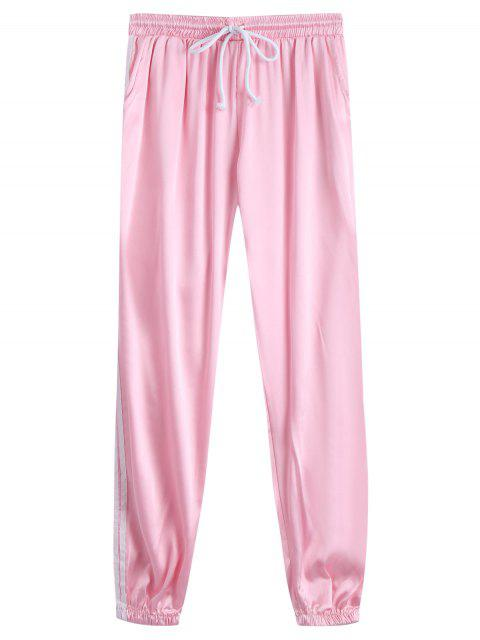 fancy Drawstring Shiny Sporty Jogger Pants - PINK L Mobile