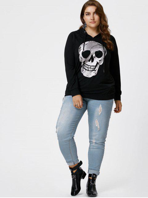 best Halloween Plus Size Raglan Sleeve Skull Hoodie - BLACK 2XL Mobile
