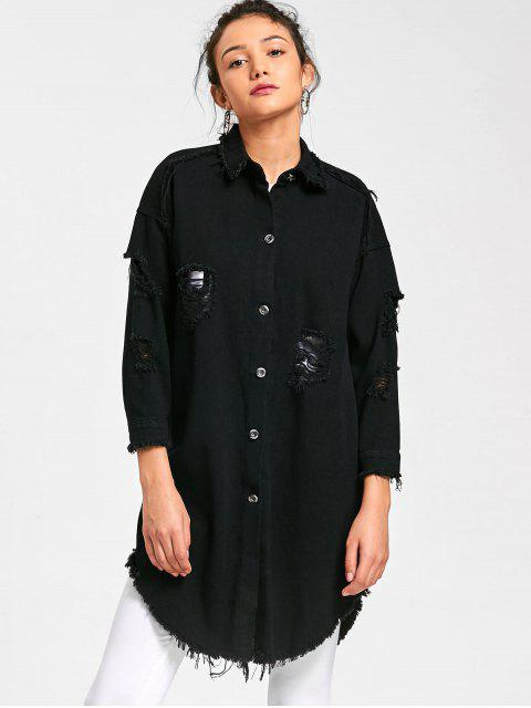 Lucky Frayed camisa curvada camisa - Negro M Mobile