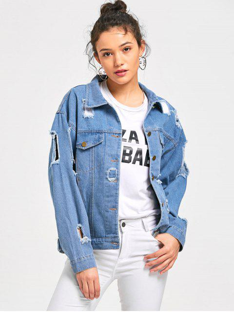 Destruido Denim Button Up Jacket - Azul Claro 2XL Mobile