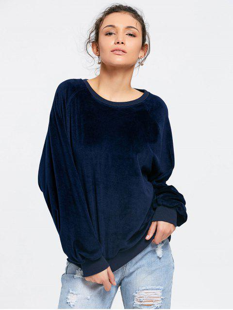 Casual Sweat-shirt Oversize en Velours - Bleu Violet S Mobile
