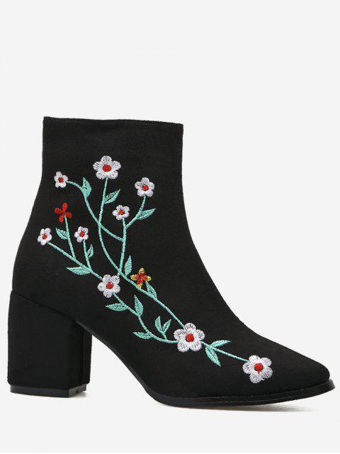 ladies Chunky Embroidery Floral Ankle Boots - BLACK 40 Mobile