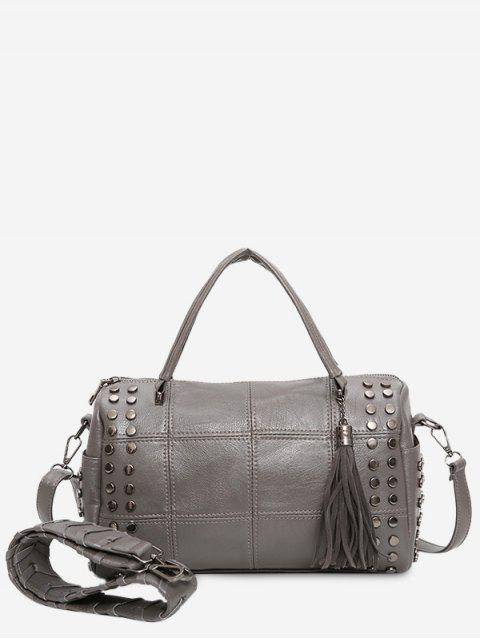 best Tassel Stud Quilted Tote Bag - GRAY  Mobile