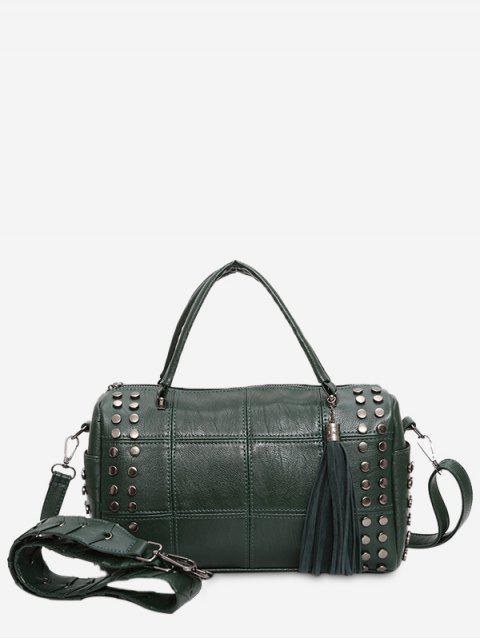 hot Tassel Stud Quilted Tote Bag - GREEN  Mobile