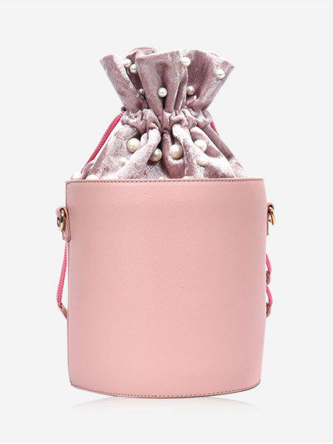 shop Drawstring Faux Pearl Bucket Bag - PINK  Mobile