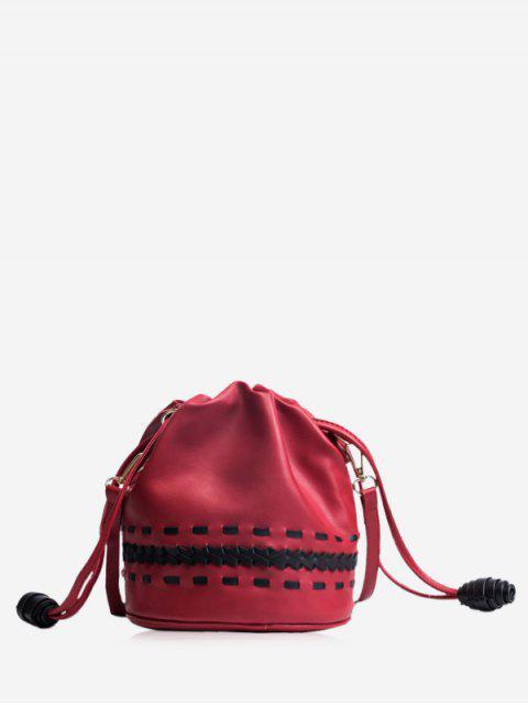 shop Drawstring Braid Crossbody Bag - RED  Mobile