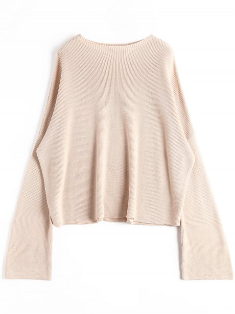 sale Oversized Slash Neck Boxy Sweater - APRICOT ONE SIZE Mobile