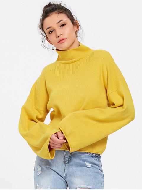 womens Lantern Sleeve Turtleneck Sweater - YELLOW ONE SIZE Mobile
