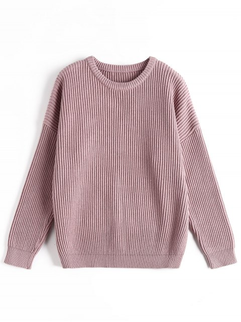ladies Ribbed Chunky Sweater - PURPLE ONE SIZE Mobile