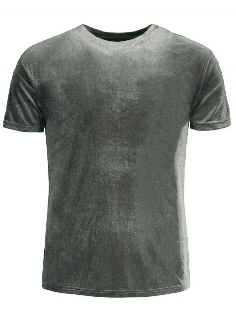 online Short Sleeve Velvet Top - GRAY XL Mobile