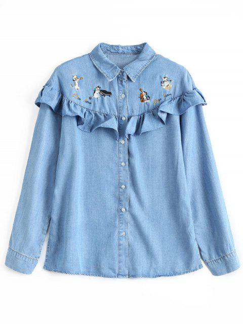 sale Ruffles Cat Embroidered Denim Shirt - DENIM BLUE S Mobile